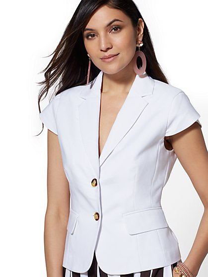 7th Avenue - White Two-Button Jacket - New York & Company