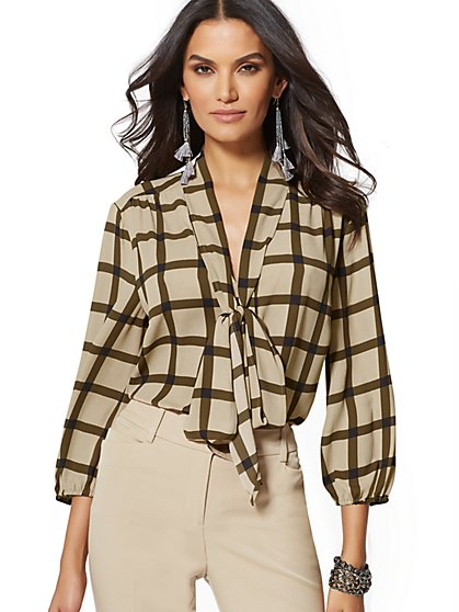 7th Avenue - Windowpane-Check Bow Blouse - New York & Company