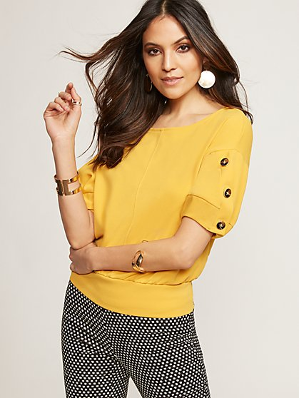 7th Avenue - Yellow Button-Sleeve Top - New York & Company