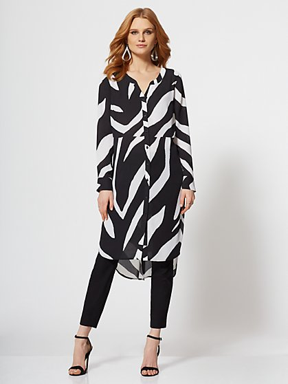 7th Avenue - Zebra-Print Maxi Shirt - New York & Company