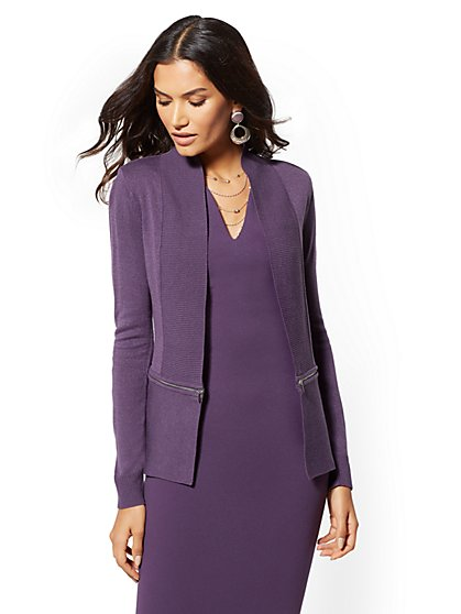 7th Avenue - Zip-Accent Cardigan - New York & Company
