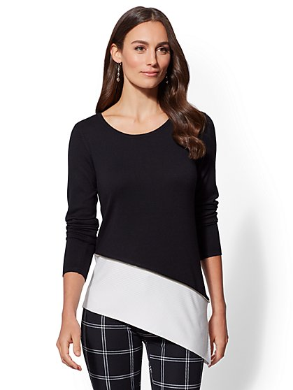 7th Avenue - Zip-Accent Colorblock Sweater - New York & Company