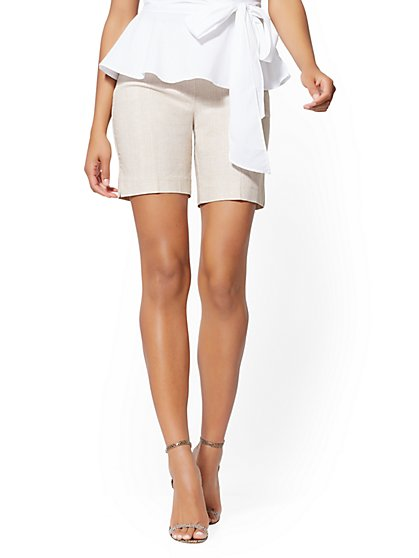 8 Inch Whitney Bermuda Short - Tan High-Waisted Pull-On - New York & Company