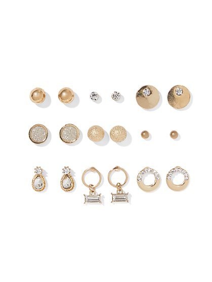 9-Piece Goldtone Post Earring Set - New York & Company
