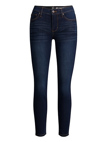 Abby Mid-Rise Slimming No Gap Super-Skinny Ankle Jeans - Dark Wash - New York & Company