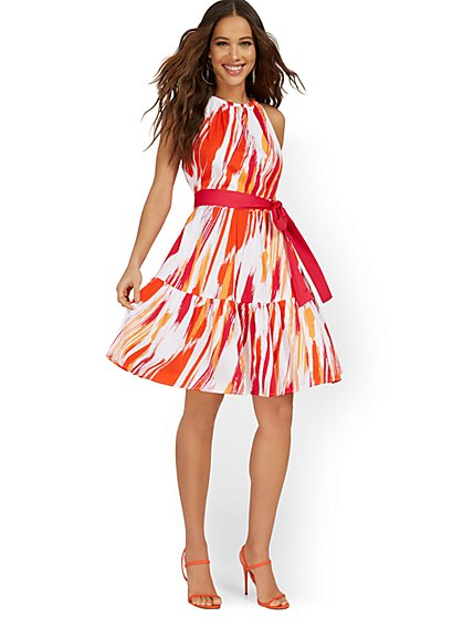Abstract Halter Tie-Front Dress - New York & Company