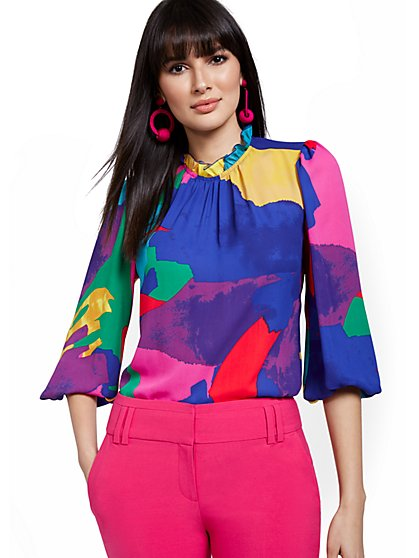 Abstract Mock-Neck Blouse - New York & Company