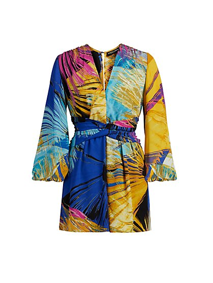 Abstract Print V-Neck Romper - Gabrielle Union Collection - New York & Company