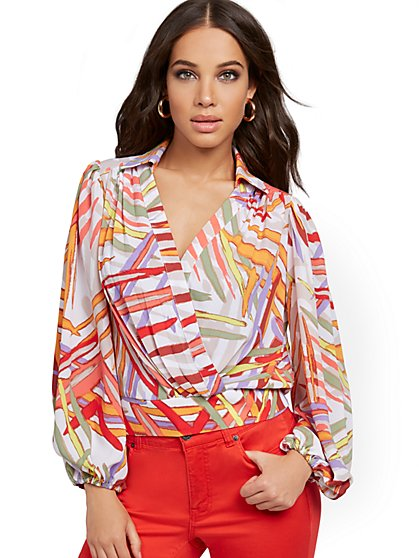 Abstract-Print Wrap Blouse - New York & Company