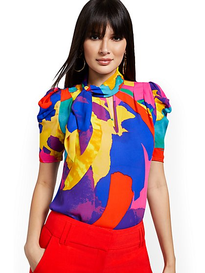 Abstract Puff-Sleeve Tie-Neck Blouse - New York & Company
