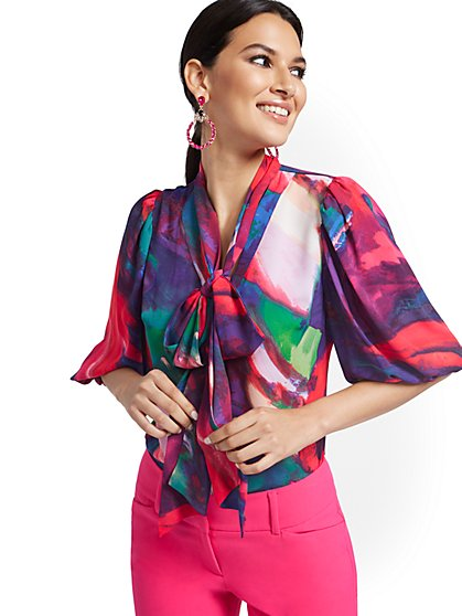 Abstract Watercolor Print Essential V-Neck Bow Blouse - New York & Company