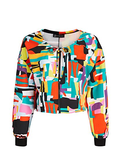 Abstract Zip-Front French Terry Jacket - The NY&C Legacy Collection - New York & Company