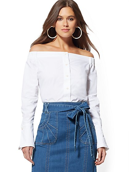 Adena Off-The-Shoulder Poplin Blouse - Eva Mendes Collection - New York & Company