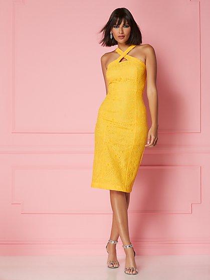 6fa2d7e4 Alejandra Lace Halter Sheath Dress - Eva Mendes Party Collection - New York  & Company ...