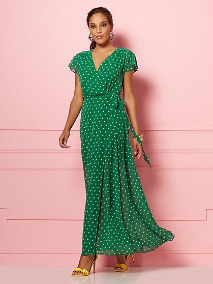 81e28fa5468cb DARK BLUE. New Arrival. Allison Dot-Print Wrap Dress - Eva Mendes Party  Collection - New York   Company ...