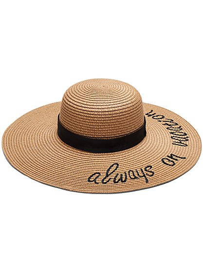 Always On Vacay Raffia Floppy Hat - New York & Company