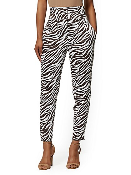 Animal-Print Paperbag-Waist Slim Ankle Pant - 7th Avenue - New York & Company