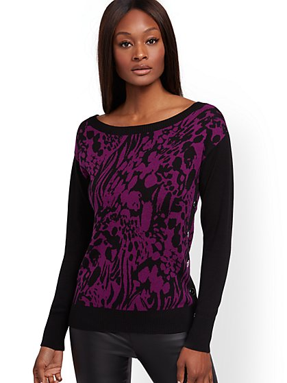 Animal-Print Sweater - New York & Company