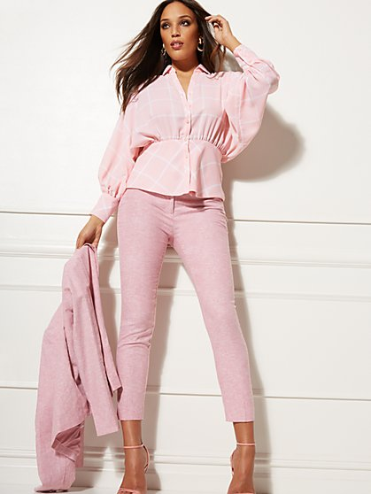 Ankle Pant - City Stretch Linen Flex - Pink - 7th Avenue - New York & Company