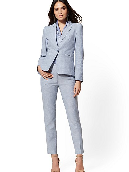 Ankle Pant - Modern Fit - City Stretch Linen Flex - 7th Avenue - New York & Company