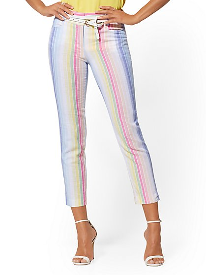 Ankle Pant - Modern Fit - Multicolor Stripe - 7th Avenue - New York & Company
