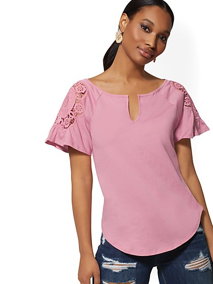 Appliqued Flutter-Sleeve Tee - New York & Company
