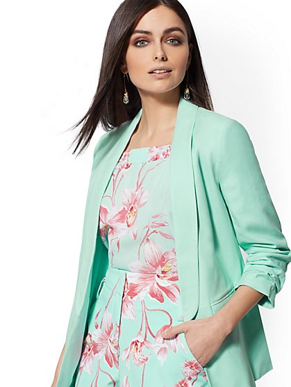 Aquamarine Open-Front Blazer - 7th Avenue - New York & Company