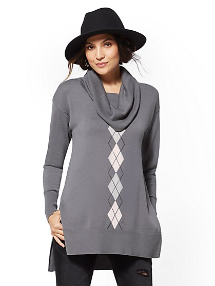 Argyle Cowl-Neck Tunic Sweater - New York & Company