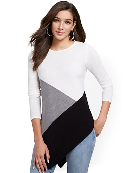 Asymmetrical Coloblocked Tunic Sweater - New York & Company