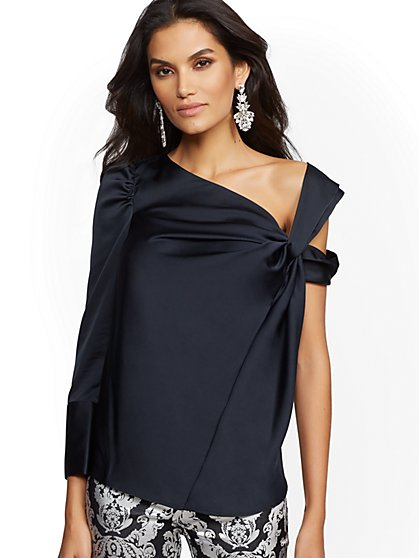 Asymmetrical Draped Top - 7th Avenue - New York & Company