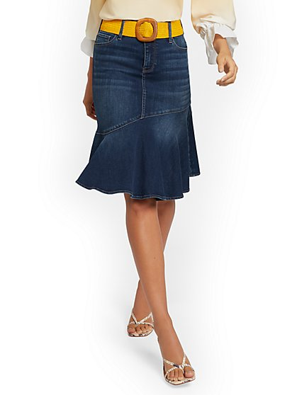 Asymmetrical Flounce Denim Skirt - Blueberry - New York & Company