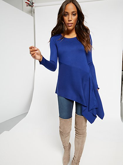 Asymmetrical Flounce-Hem Sweater - New York & Company