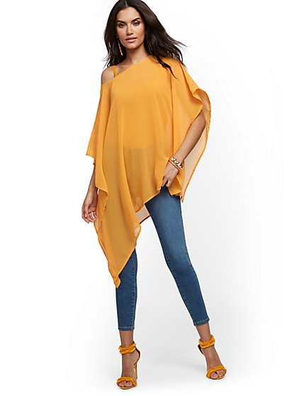 Asymmetrical-Hem Poncho - New York & Company