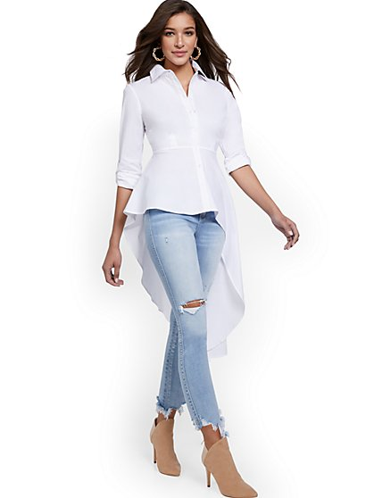Asymmetrical Poplin Statement Top - New York & Company