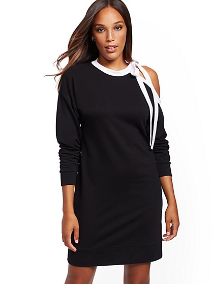 Asymmetrical-Shoulder Dress - Soho Street - New York & Company