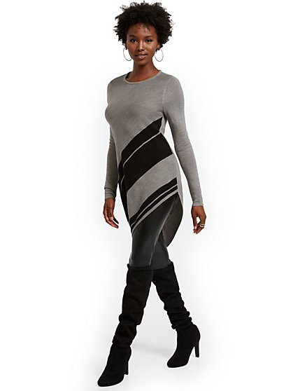 Asymmetrical Stripe Tunic Sweater - New York & Company