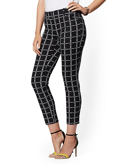 Audrey Ankle Pant - Black & White Plaid - New York & Company