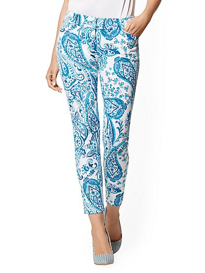 Audrey Ankle Pant - Blue Paisley - New York & Company