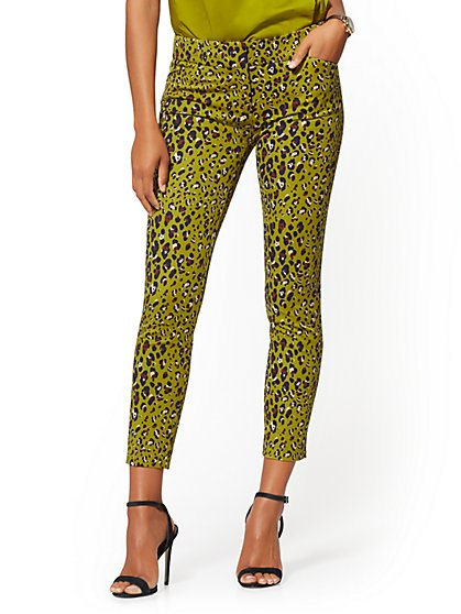 Audrey Ankle Pant - Olive Cheetah Print - New York & Company