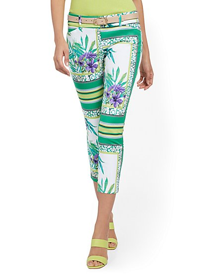 Audrey Capri Slim-Leg Pant - Mixed Print - New York & Company