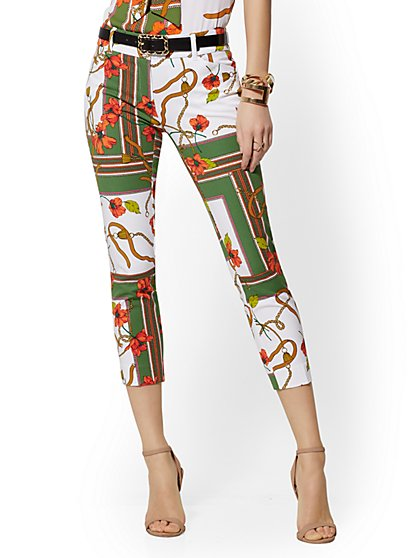 Audrey Crop Slim Leg Pant - Mixed Print - New York & Company