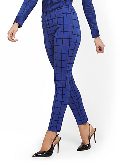 Audrey High-Waisted Ankle Pant - Grid-Print - New York & Company