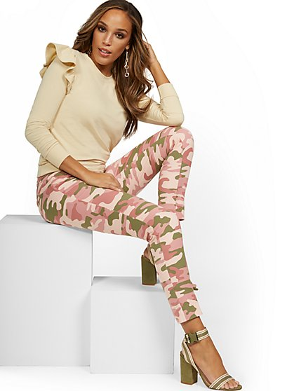Audrey High-Waisted Ankle Pant - Pink Camo-Print - New York & Company