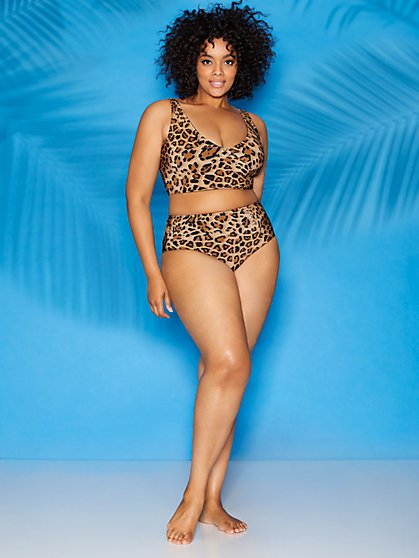 Audrey Leopard-Print High-Rise Bikini Bottom - Sweet Pea Swimwear - New York & Company