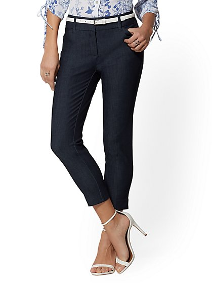 Audrey Pant - Crop Slim Leg - Navy Denim - New York & Company