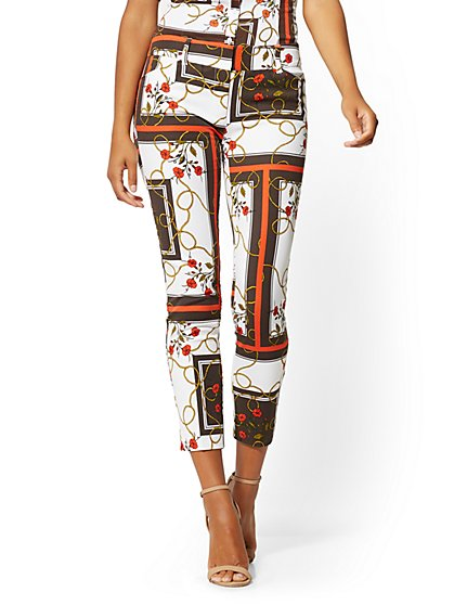 Audrey Slim-Leg Ankle Pant - Floral & Linear Print - New York & Company