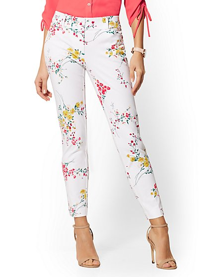 Audrey Slim Leg Ankle Pant - Floral - New York & Company