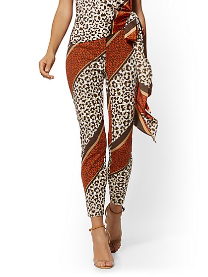 Audrey Slim Leg Ankle Pant - Mixed Animal Print - New York & Company