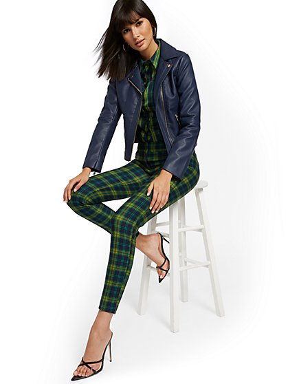Audrey Slim-Leg Pant - Plaid - New York & Company