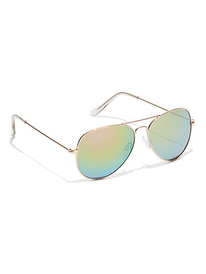Aviator Multicolor-Lens Sunglasses - New York & Company